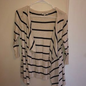 Tan with Navy blue striped cardigan